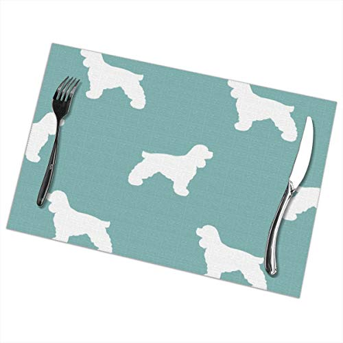 Cocker Spaniel Silhouette Fabric Dog Breeds Gulf Insulation Stain Resistant Kitchen Table Mats Placemats for Dining Table Set of 6 36827 Placemats for Dining Table Set of 6
