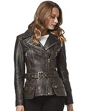 Smart Range Feminine Ladies Trench Coat Black Bronze Washed Motorbike Style Designer Real Leather Jacket 2812