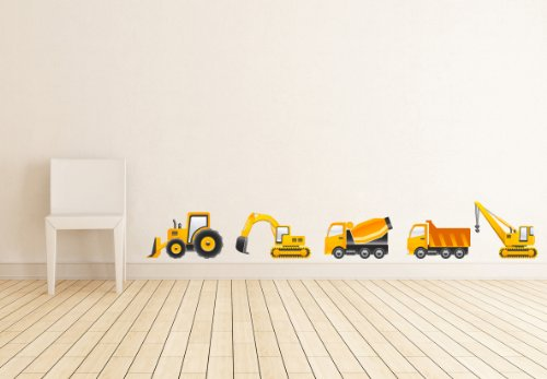 Construction Vehicles Set of 5 Wall Decal - 36