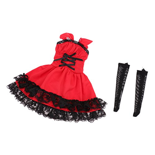 Baoblaze 1:6 Red Dress with Lace Trim & Stockings Set Outfits Clothes Fit Blythe Azone Licca Doll Toy