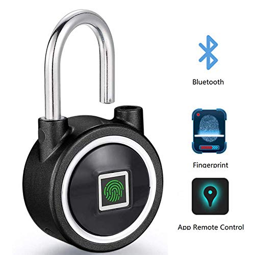 Fingerprint Padlock - Bluetooth Security Lock Smart Anti-Theft Keyless Padlock with USB Charge&Fingerprints/APP Unlock Suitable for House Door, Suitcase, Backpack, Gym, Bike, Office