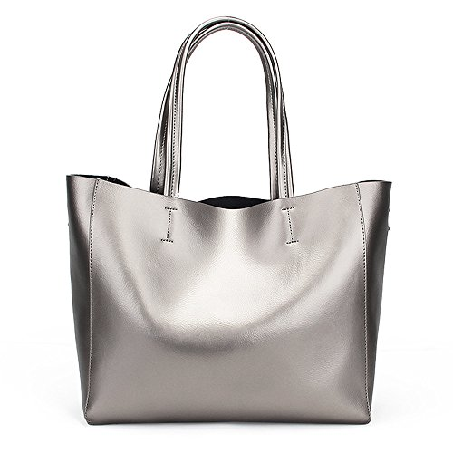 Ruiatoo Bag Silver Roomy Tote Bag Shoulder Women's Casual Leather Handbags UraUWR7