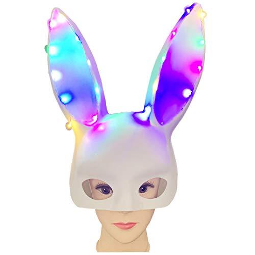 TOPGEE Halloween Glowing Rabbit Mask Party Bar Nightclub Costume Ear (Dead White Rabbit Costume)