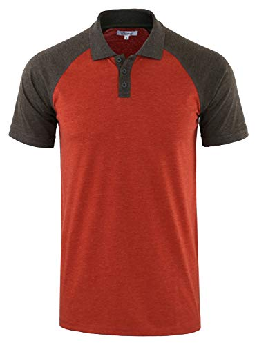 Vetemin Mens Casual Retro Short Sleeve Active Raglan Jersey Polo Henley T Shirt H.Rusty/H.Charcoal ()