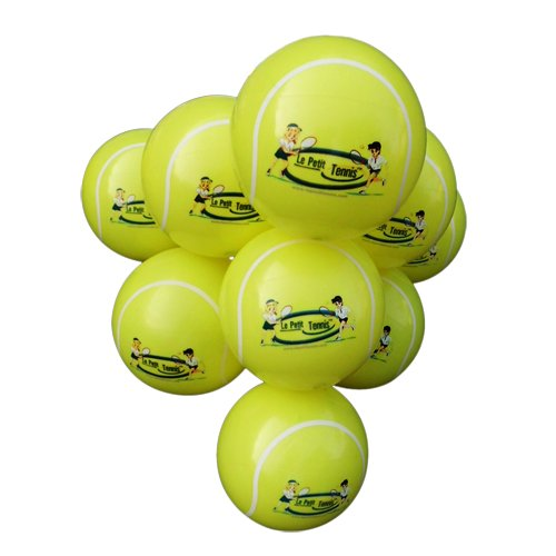 Le Petit Tennis - My First Tennis Ball - Pack of 10 - Inflatable Tennis Ball - (10 Balls + Handy Pump) for Ages 2-3-4-5-6