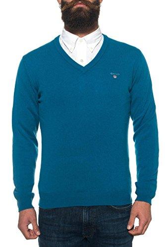 Lambswool Homme Neck Gant Pull Bleu V f1qZaWwPB