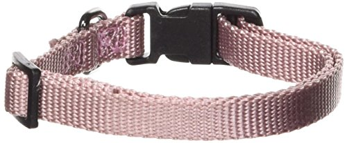 Dog Collar Adjustable Hamilton Nylon - Hamilton Gun Metal Series Adjustable Dog Collar, 3/8-Inch, Rose Quartz