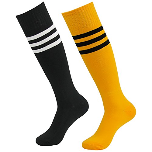 Long Football Socks Boys, Diwollsam Unisex 2 Pack Black Musturd Yellow Non-slip Fashion Solid Color Support Knee Length Uniform Casual Volleyball Soccer Cycling Tube Socks