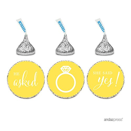 Andaz Press Chocolate Drop Labels Stickers, Wedding He Asked She Said Yes!, Yellow, 216-Pack, for Bridal Shower Engagement Hershey's Kisses Party Favors Decor