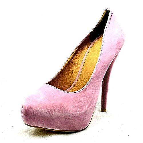 Platform Shoes Court pink Heel pale Concealed SendIt4Me High Toe suedette Round H1Z5w