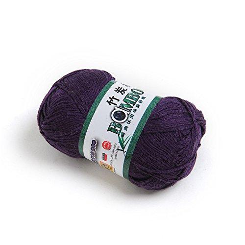 Kicode 50g Soft Smooth Natural Bamboo Cotton Hand Knitting Yarn Baby Cotton Yarn Knitted (Eggplant Purple)