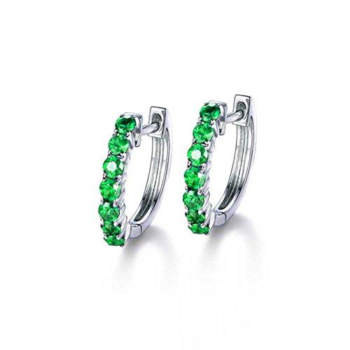 Carleen 14k Solid White Gold Round Cut Green Natural Tsavorite Hinged Huggie Hoop Earrings Dainty Delicate Fine Jewelry For Women Girls