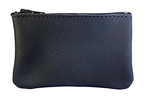 Classic Coin Pouch For Men made with Genuine Leather, Zippered Coin Purse change Holder By Nabob, Navy, (Classic Pouch)