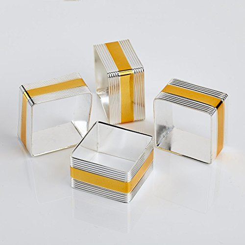 Silver Gold Square Napkin Rings Set of 4pc