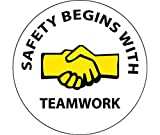NMC 2'' X 2'' Black/White/Yellow Pressure Sensitive Vinyl Label ''SAFETY BEGINS WITH TEAMWORK''