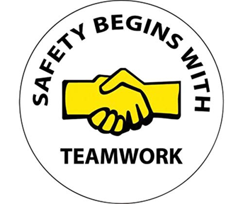 NMC 2'' X 2'' Black/White/Yellow Pressure Sensitive Vinyl Label ''SAFETY BEGINS WITH TEAMWORK'' by National Marker