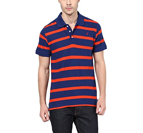 American Crew Men's Polo Collar Cotton Stripes T-Shirt (Red & Blue)