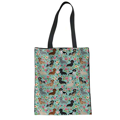 SANNOVO Women's Top Handle Canvas Tote Shoulder Bag(Dachshund Dog Floral) (Canvas Bag Bowler)