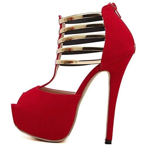 Aisun Mujeres Sexy Gladiador Correa T Peep Toe Plataforma Cremallera Trasera Elegante Bombas Sandalias Stiletto Super High Heel Zapatos Rojo