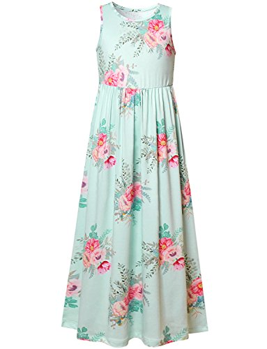 Girl Long Dress Floral Maxi Dress Flower Green Sleeveless Casual Cute 7-16 Kid