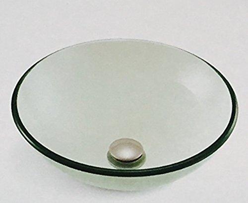 Glacier Bay GLV-070 Round Glass Vessel Sink, Clear