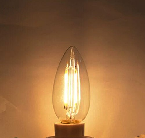 4W (40W Equivalence) E12 Base Dimmable Edison LED Candle Bulb, C35 Clear Glass Torpedo Shape Bullet Top, 2200K Warm Yellow 360 Degrees Beam Angle 250LM Ideal for Home,Entertainment,Decor-10 Pack