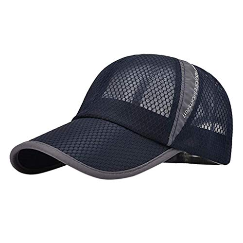 Unisex Breathable Quick Dry Sports Cap, Vintage Classic Cotton Adjustable Hat Topee, for Tennis Golf Traveling Hiking Sun Protection Mesh Baseball Hat (Navy)