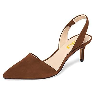 FSJ Women Fashion Low Kitten Heels Pumps Pointed Toe Slingback Sandals Dress Shoes Size 4-15 US Brown Size: 10