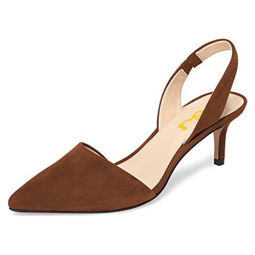 (FSJ Women Fashion Low Kitten Heels Pumps Pointed Toe Slingback Sandals Dress Shoes Size 12 Brown)