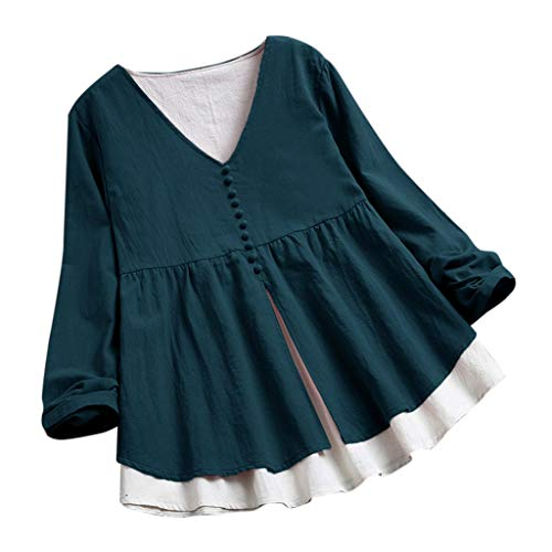 Mujer Lino Larga Para Green Blusa Patchwork Corta Tamaño Algodón Tops Encaje neck Manga De Mujer La Camiseta Color 2 Y Camiseta Womens O Gran Sólido Bazhahei B1AWUqfSww