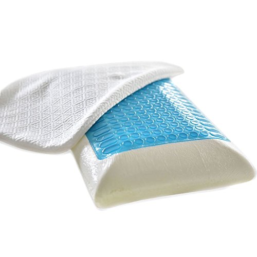 FY-LIVING Reversible Cool Gel Memory Foam Pillow for Sleeping, Antimicrobial Cover, Standard, 1-Pack ()