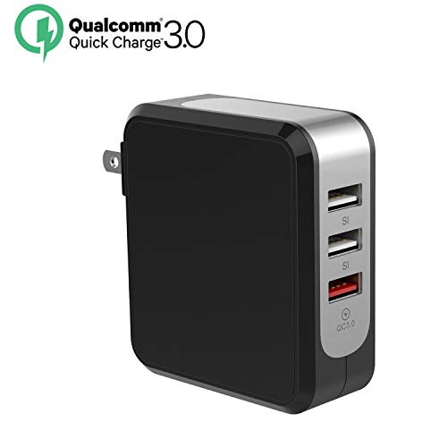 (Quick Charger 3.0 Wall Charger Adapter, VOGEK 42W 3-Port Rapid USB Wall Charger for Samsung Galaxy S9 S8 S8+ Note 8, LG, Moto Z, Google, Nexus, Pixel, Lumia, iPhone iPad, Kindle and More)