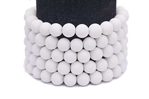 Frosted glass beads white rubber-tone beads 8mm round Sold per pkg of 3x32inch (336 BEADS)