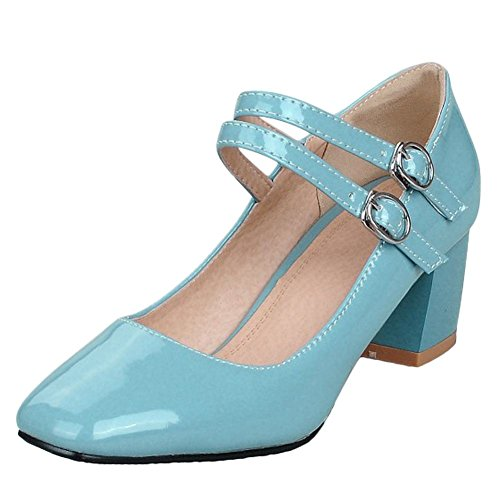 Carolbar Womens Square Toe Buckle Bridal Patent Leather Mary Janes Shoes Blue a65NVx