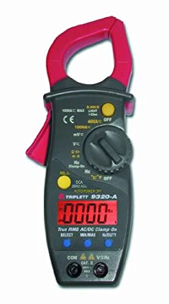 Triplett 9320-A True RMS AC/DC Clamp-On Meter, 1000A AC/DC Voltage to 600V, 40MO Resistance, -4/1472F Temperature Range, 10Hz/10MHz Frequency Range