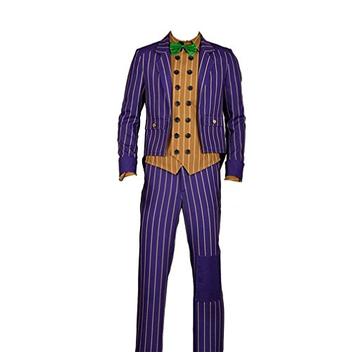 Yejue Arkham Knight Joker Cosplay Costume Scary Party (Medium Male) -