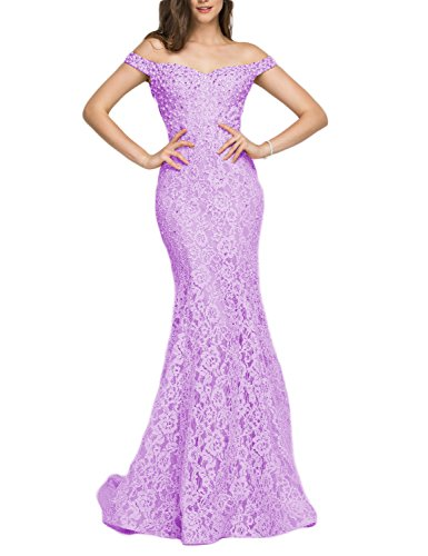 (YSMei Women's Off Shoulder Beads Wedding Celebrity Dress Long Mermaid Formal Gown Lilac 12)