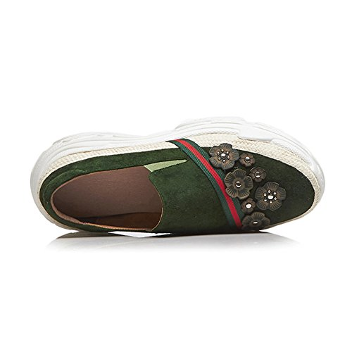 Élastique À Bande 37 Semelles Chaussures Green KJJDE Q1417 Plateformes WSXY Femme Fleurs Coins Rivets U6S50wq