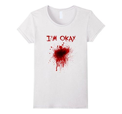 Bloody T Shirt Costume (Womens I'm Okay Bloody T-Shirt-Halloween Zombie Costume Tee Medium White)