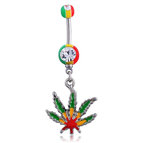 Love Dream Stainless Steel 14G Belly Buckle Rings Weed Maple Leaf Belly Button Navel Ring Body Piercing Pretty Green Jamaica