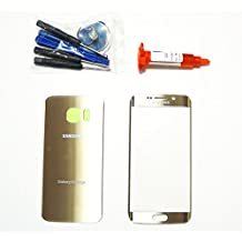 (md0410) Galaxy S6 EDGE OEM Gold Front Outer Glass Lens Screen Back Glass Battery Door Housing Cover UV LOCA Glue Adhesive Full LCD Digitizer Repair Kit Replacement G925