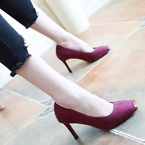 KPHY Five Sexy Ken Head Thirty Shoes High Autumn Metal Asaguchi Single Heel Violet Thin Heel Square Shoes Shoes 8Cm Women'S rxwrUg6