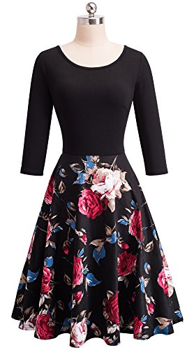 Floral Mousseline Sleeve Robe Manches Femme Une Courtes Rond 4 Ligne col A009 Floral HOMEYEE Belted 3 Red Fw5qaxF