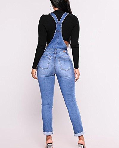 Grande Pecho Pantalones Azul En El con Talla ShiFan Mujer Vaquero Peto para Bolsillo Jeans Rxppnat6
