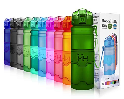 HoneyHolly Portable Sports Water Bottle-Leak Proof Kids Water Bottle Reusable Container,One Click Flip Cap14/17/24/26/32/50Ounce,for Outdoor/Camping/Running/Gym,Non Toxic,BPA-Free Tritan Plastic (Best Bottles That Don T Leak)
