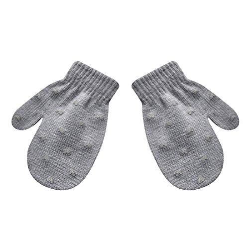 Unisex Toddler Infant Baby Knit Stretch Magic Mittens,Girls Boys Cute Star Hearted Print Winter Warm Gloves (Gray a, 1-5 years) (Gloves Magic 1)