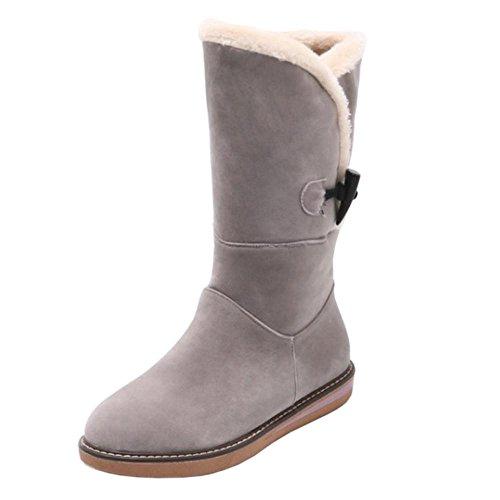 Pull Women's Gray On Boots Warm TAOFFEN qtn4SUx