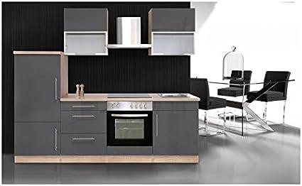 Mebasa MCUKB24GE de cocina, de cocina incluye instalación y dispositivos campana extractora PKM8090 completamente moderno bloque de cocina de 240 cm, en madera de roble oscuro/gris brillante: Amazon.es: Bricolaje y herramientas