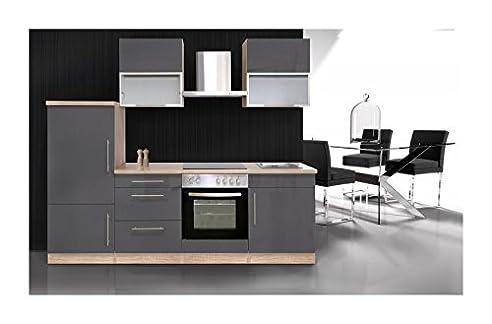 Küchenzeile 240 cm Sonoma Eiche / Hochglanz Grau: Amazon.de: Baumarkt