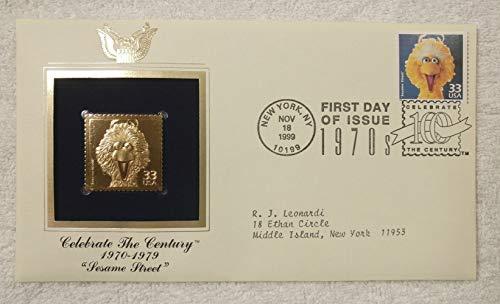 Sesame Street debuts on PBS - Celebrate the Century (The 1970s) - FDC & 22kt Gold Replica Stamp plus Info Card - Postal Commemorative Society, 1999 - Big Bird, Jim Henson, Education, Public Television